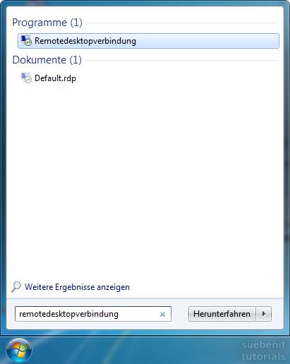 RDP aufrufen Win 7 Remotedektop