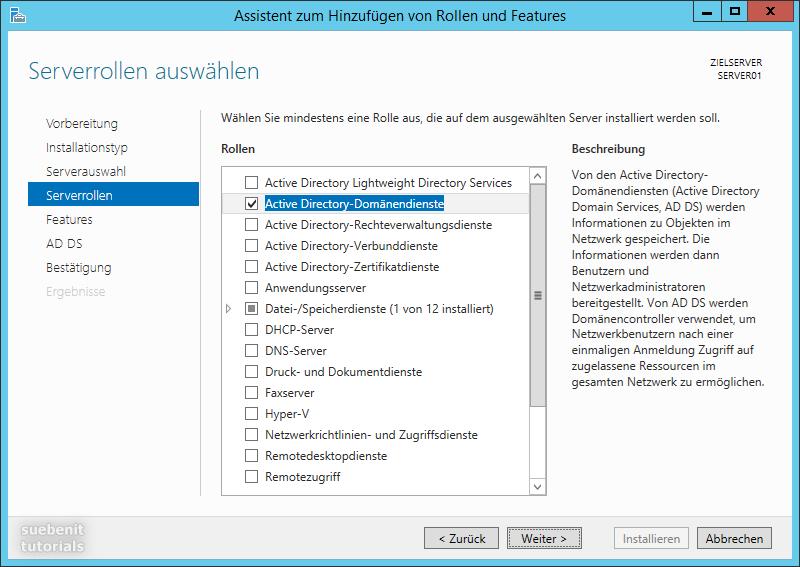 Domäne mit Windows Server 2012 R2 Rolle Active Directory
