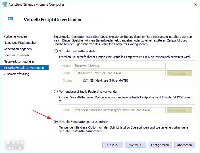 Mit dem Hyper-V Manager eine virtuelle Festplatte verbinden.