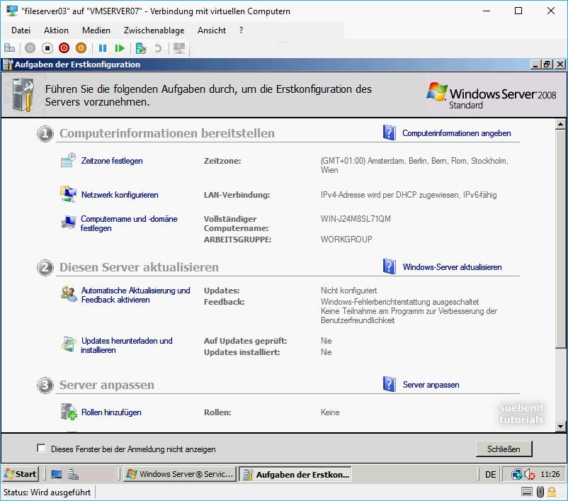 Die Windows Server 2008 Erstkonfiguration mit dem Server-Manager.