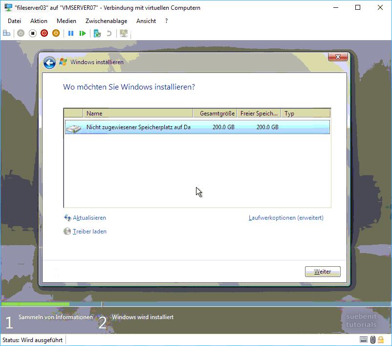 Installation Server2008 Festplatte partionieren.