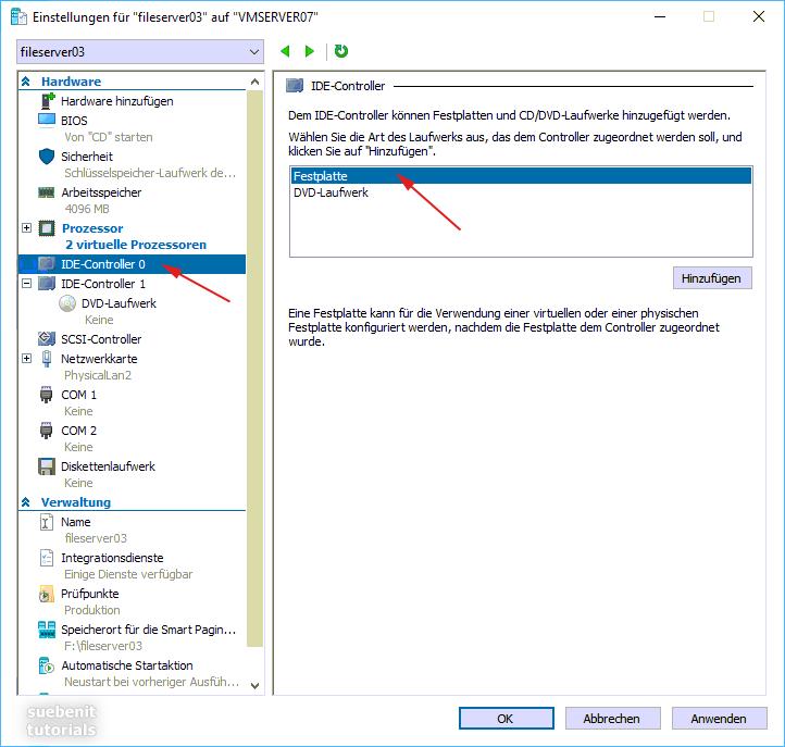 VM einstellen IDE Controller