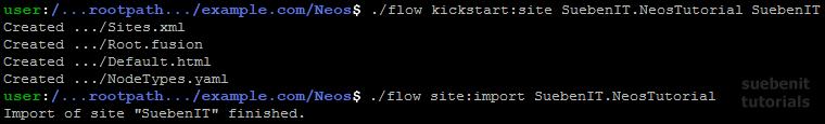 Flow-Befehle zum SitePackage und Site kickstarten