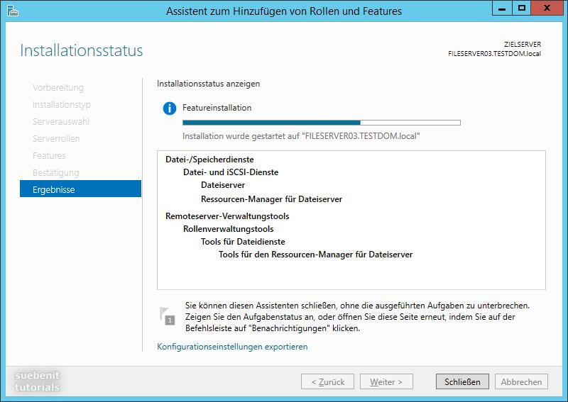 Server 2012 R2 Fileserver Featureinstallation