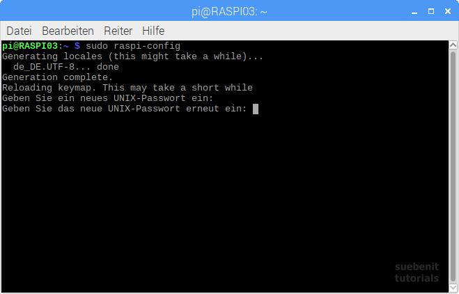 raspi-config Passwort ändern change password