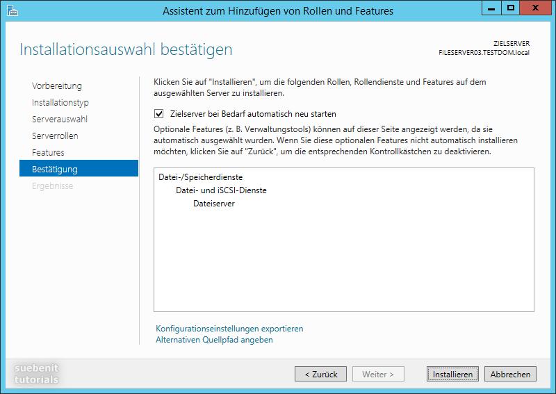 Windows Server 2012 R2 Dateiserver als installationsauswahl bestätigen