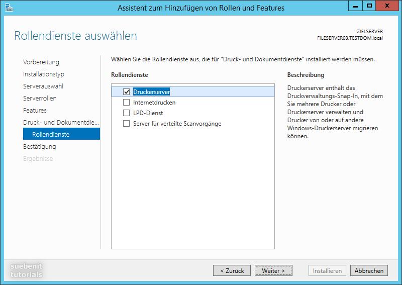 Windows Server 2012 R2 Rolle Druckerserver Rollendienste
