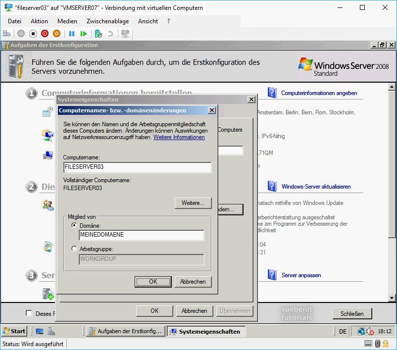 Windows Server 2008 Domäne hinzufügen