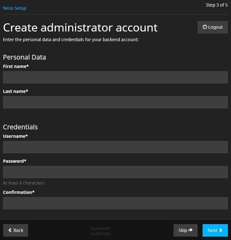 Neos Setup Schritt 3 Admin Account erstellen