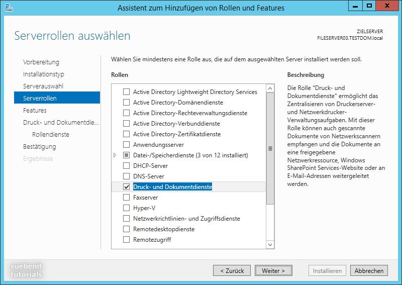 Server 2012 r2 Serverrolle Druckserver