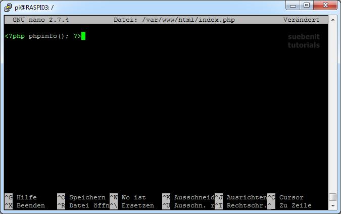 nano index.php phpinfo()