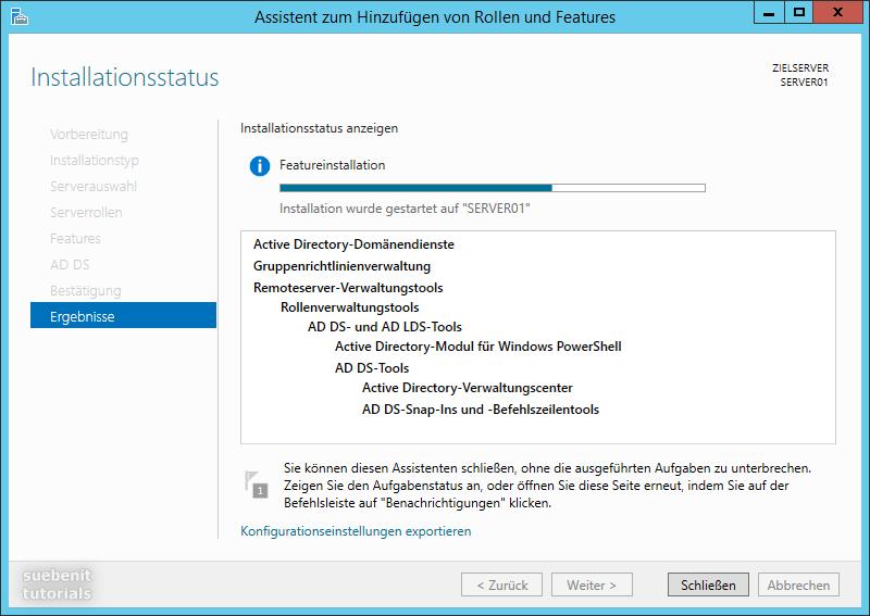 Server 2012 R2 Active Directory Domänendienste werden installiert.