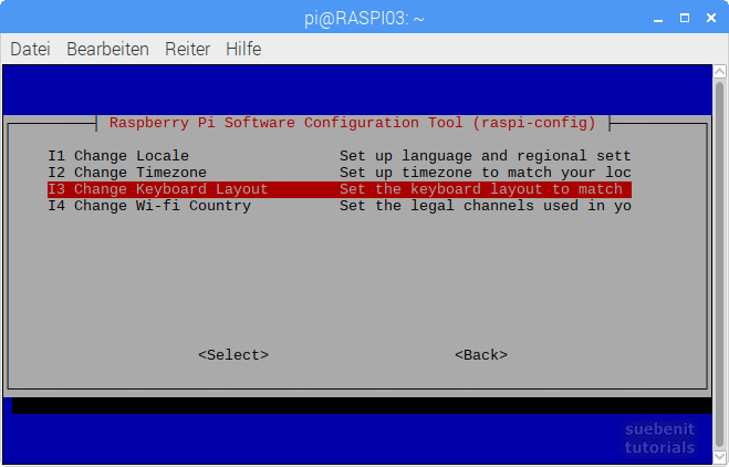 raspi-config change keyboard layout ändern