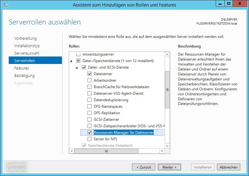 Server 2012 R2 Serverrolle Ressourcen-Manager für Dateiserver
