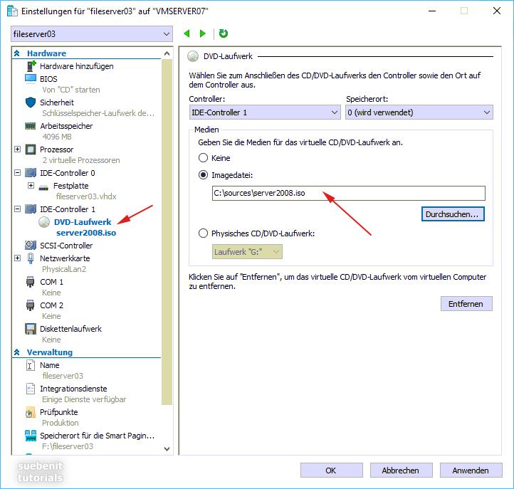 Mit dem Hyper-V Manager die Server 2008 Install-ISO einlegen.
