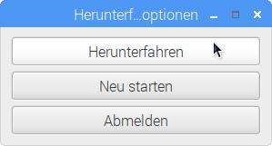 Raspbian Pixel Desktop Herunterfahren Shutdown Dialog