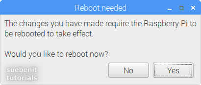 Raspberry Pi Configuration Reboot needed