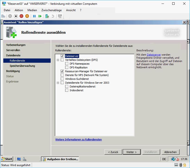 Windows Server 2008 Fileserver Rollendienste