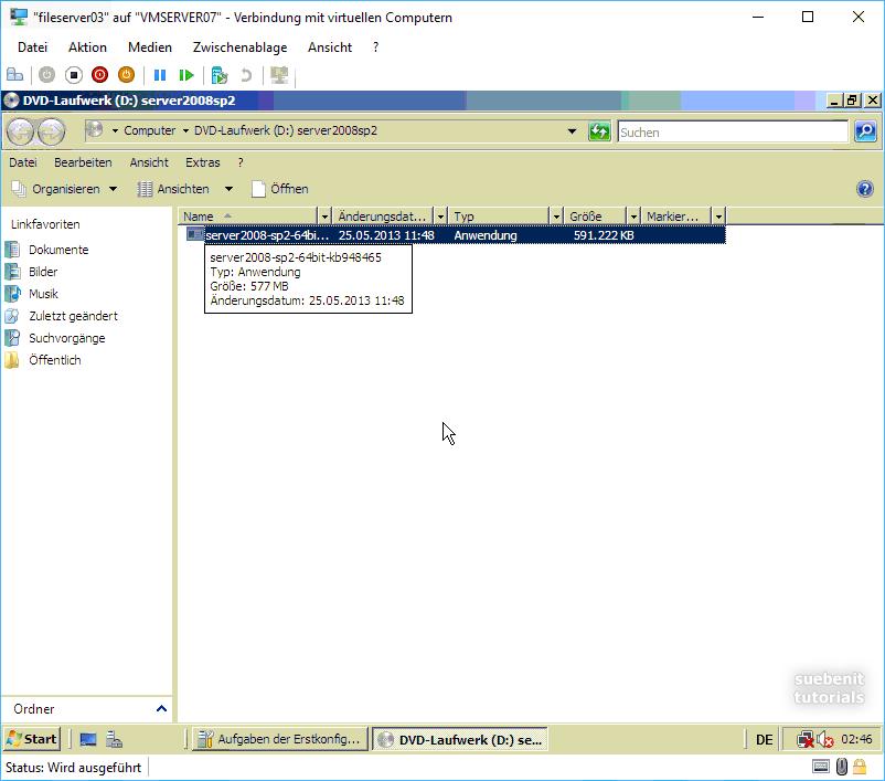 Windows Server 2008 SP2 insallieren