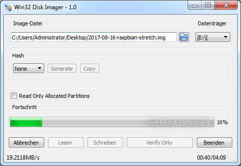 Raspbian Image auf SD Card schreiben