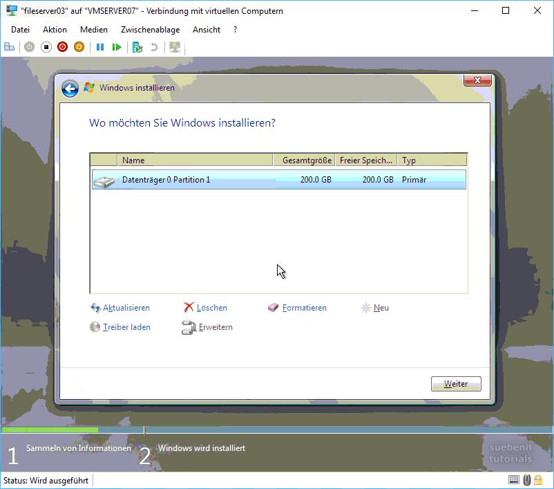 Server 2008 Installation starten