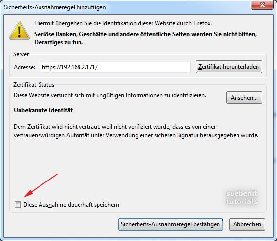 Firefox Zertifikat Sicherheits-Ausnahme-Regel hinzufügen