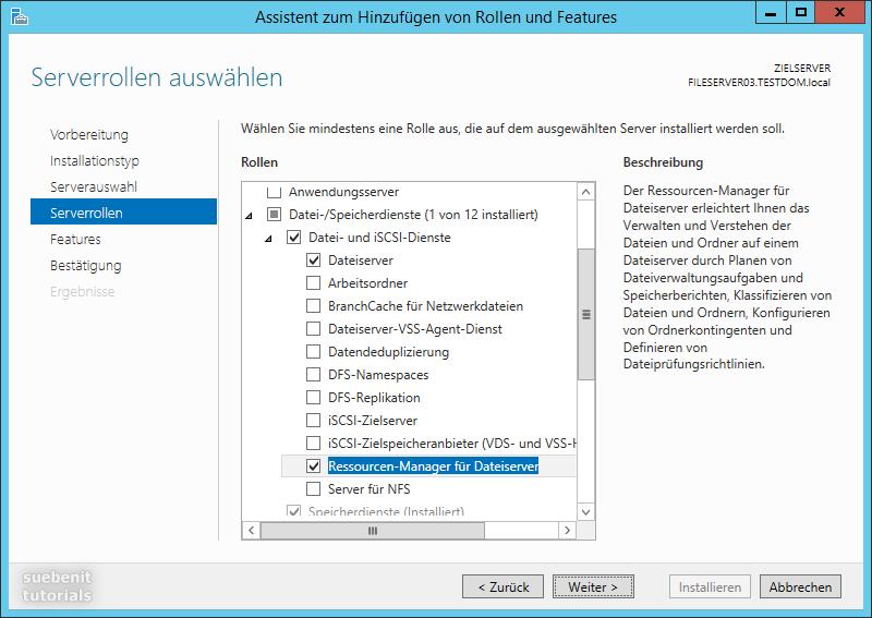 Windows Server 2012 r2 als Fileserver Serverrollen auswaehlen