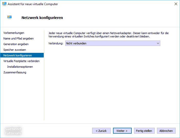 Hyper-V Manager VM erstellen: Netzwerk konfigurieren.