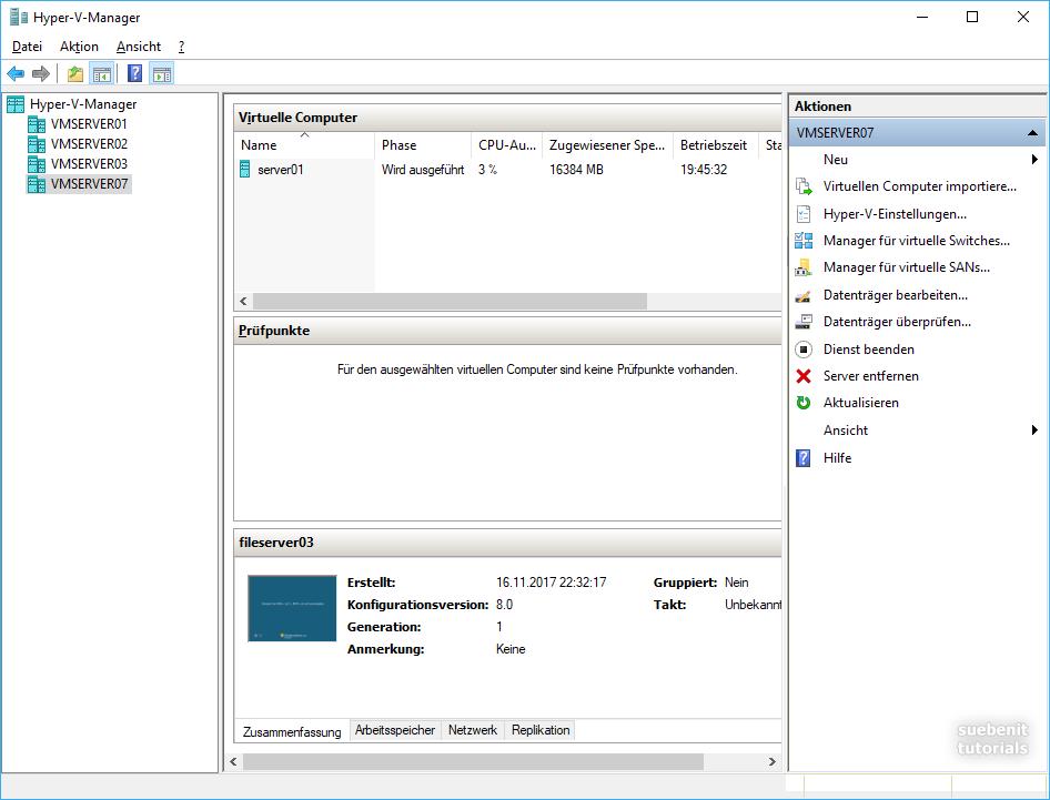 Hyper-V Manager von Windows 10