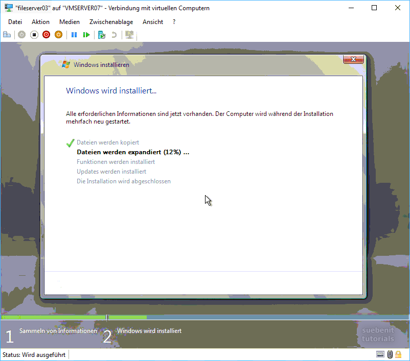 Windows Server 2008 wird installiert.