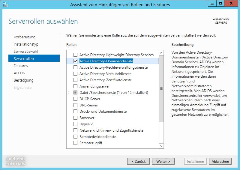 Windows Server 2012 R2 Serverrolle Active Directory Domänendienste