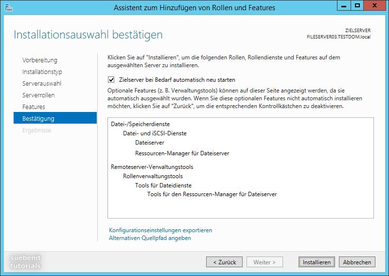 Server 2012 R2 Fileserver Dateiserver und Ressourcen-Manager installieren