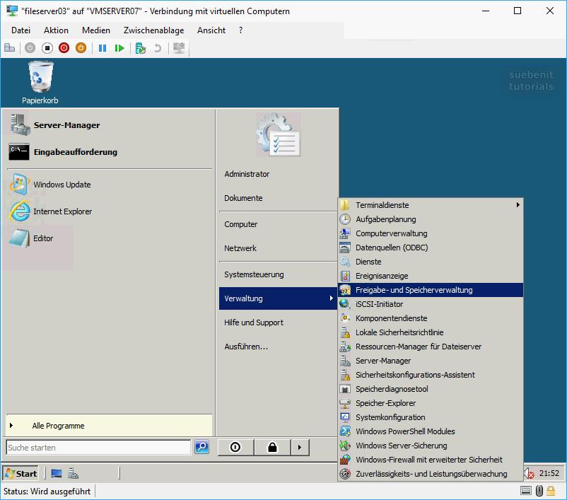 Desktop von Server2008 mit Server-Freigabe und Speicherverwaltung verknüpfen