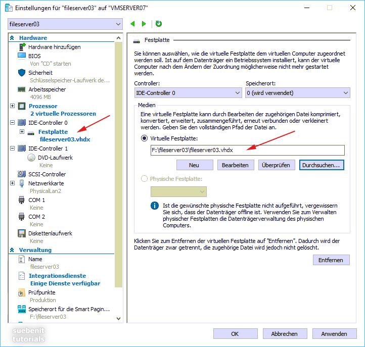 VM-Einstellungen: virtuelle Festplatte hinzufügen.