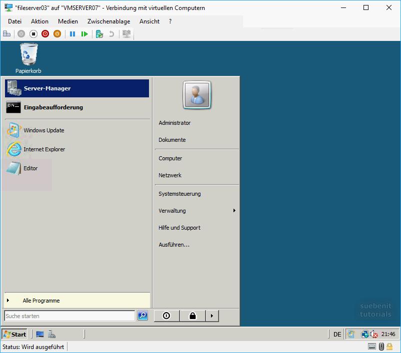 Im Windows Server 2008 den Server-Manager auf den Desktop verknüpfen.