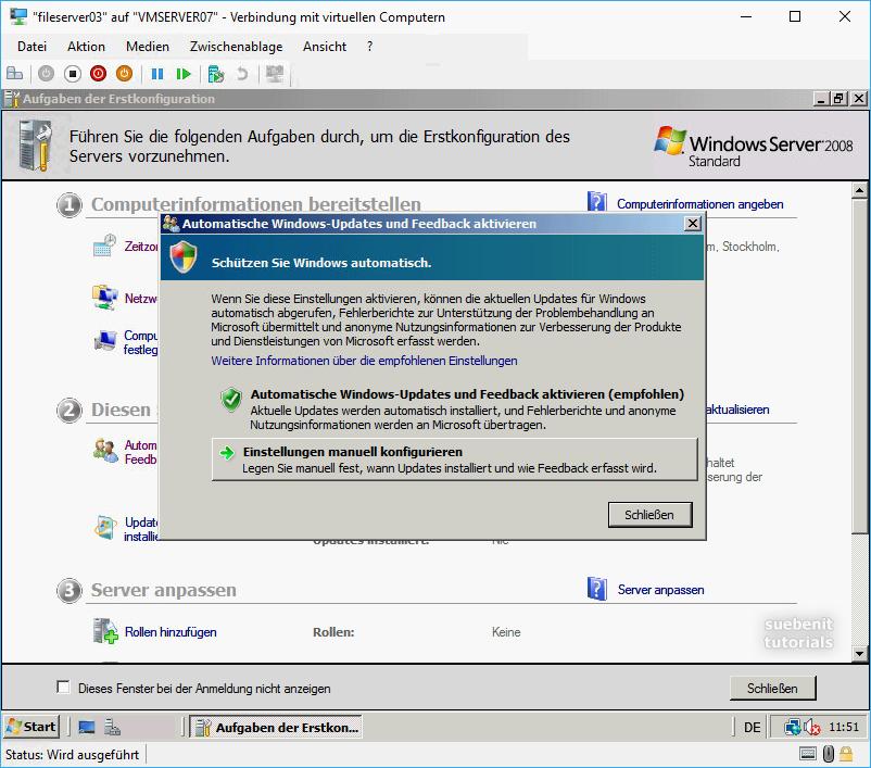 Windows Server 2008 Erstkonfiguration Windows Updates