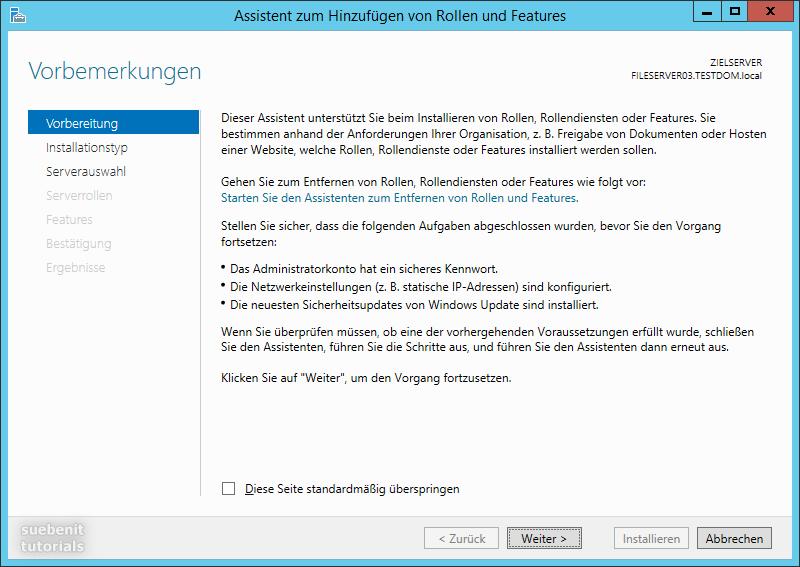 Server 2012 r2 Assistent zum Hinzufügen von Rollen und Features
