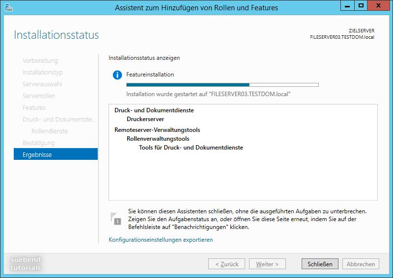 Server 2012 R2 Druckserver Featureinstallation Rollen werden installiert