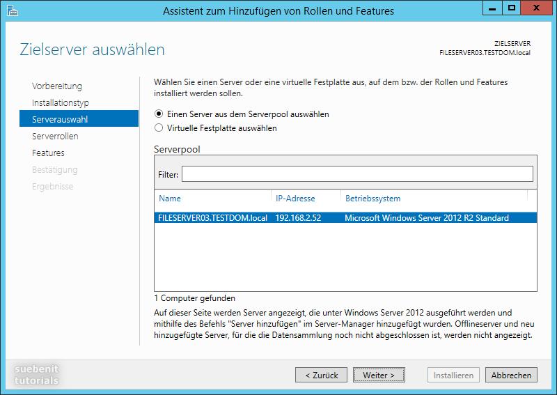 Microsoft Windows Server 2012 R2 Serverauswahl Rolle installieren