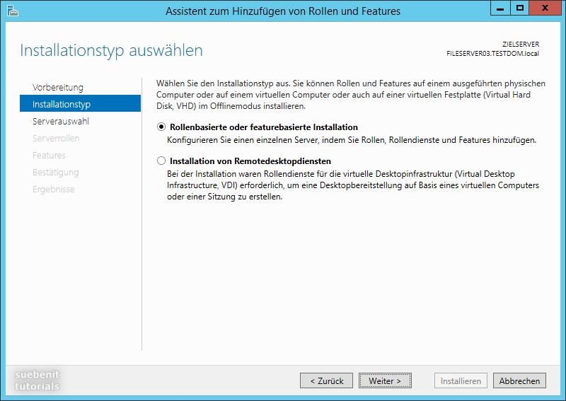 Windows Server 2012 R2 Installationstyp rollenbasierte Installation