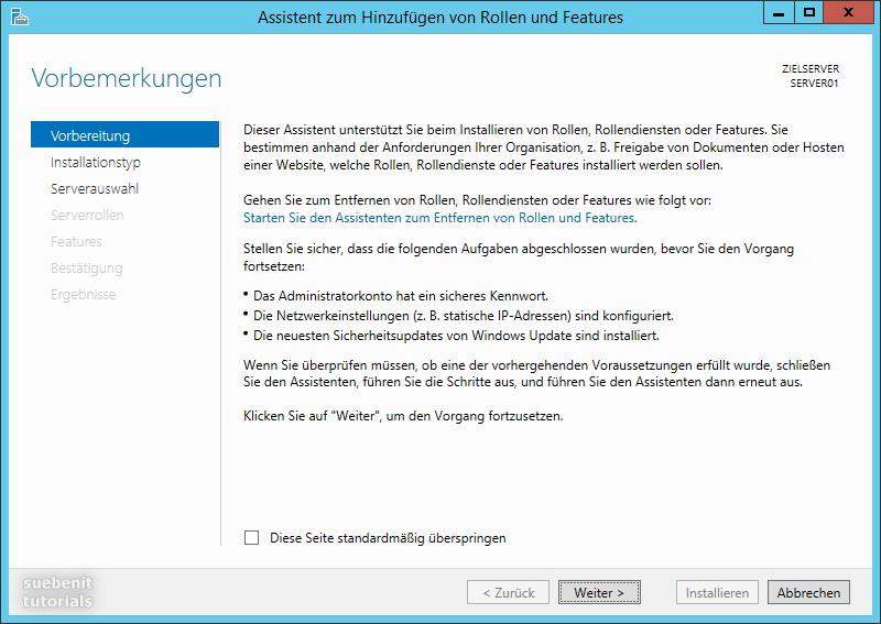 Windows Server 2012 r2 Assistent zum Hinzufügen von Rollen und Features