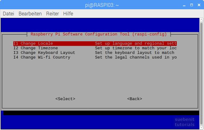 raspi-config localisations options