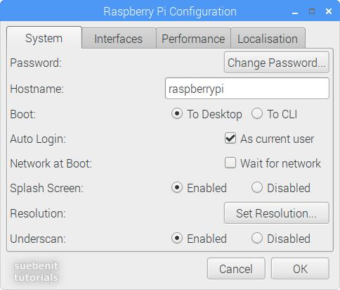 Raspberry Pi Configuration register System default Werte values