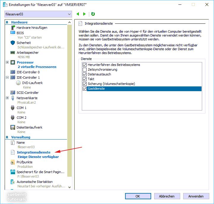 Hyper-V Manager: Einstellungen der Integrationsdienste.