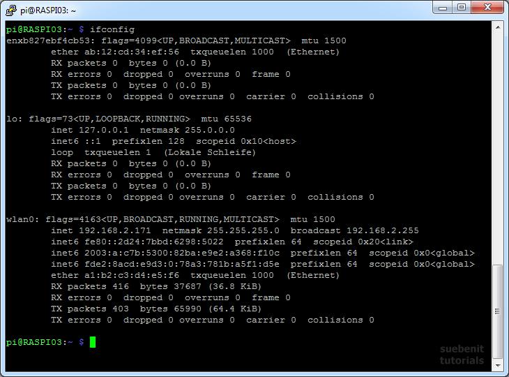 ifconfig IP Adresse Linux MAC Adresse