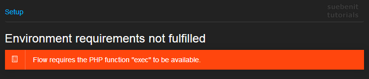 Neos Setup Fehlermeldung php braucht exec