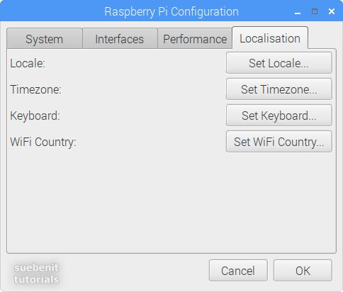 Raspberry Pi Configuration register Localisation