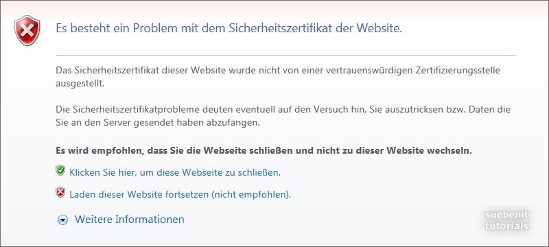 Internet Explorer Meldung: Es besteht ein Problem mit dem Sicherheitszertifikat der Website.