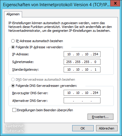 IP-Adresse einstellen ipv4