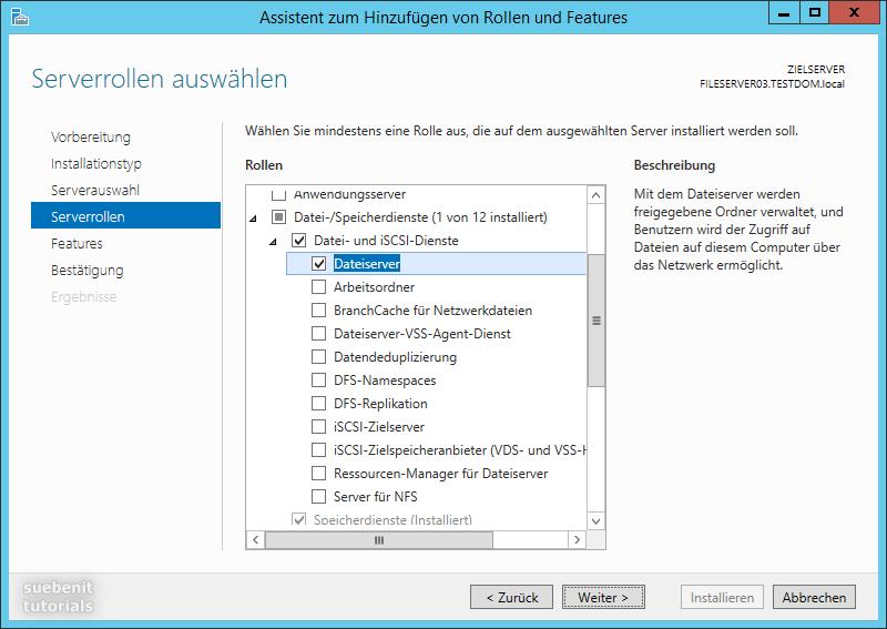 Server 2012 r2 Fileserver Serverrolle Dateiserver